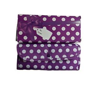 New Sachi Insulated Foldable Market Tote Bag Polka Dot Purple White