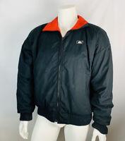 VTG Woolrich Xl Men's Nylon Wind Breaker Jacket Coat Black Spell Our Zip Up