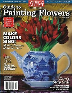 American Artist Magazine Painting Flowers Guide Oil Pastel Watercolor Tulip 2011