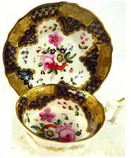 C1825 Tazza di porcellana d'antiquariato inglese PIATTINO scanalata OLD ENGLISH MANIGLIA RIDGWAY