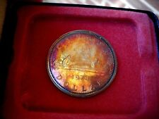 RED BU 1972 Canada Silver SP Dollar Lustrous With Gold Highlights