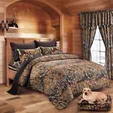 7 PC NATURAL QUEEN MIX COLOR CAMO BEDDING SET COMFORTER BLACK SHEETS CAMOUFLAGE