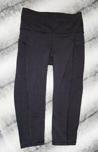 LULULEMON Crop Capri Pants MIND OVER MILES Luxtreme BLACK Leggings Run Yoga Sz 4
