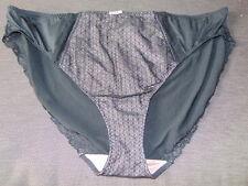 M&S Textured Panel Lace Trim High Leg Style Briefs 22 Black Mix BNWT