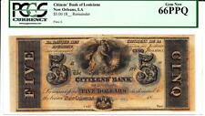 New Orleans, LA- Citizens' Bank of Louisiana $5 PCGS Gem New 66