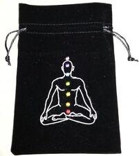 VELVET CHAKRA TAROT CARD CRYSTAL POUCH NEW AGE HEALING BAG REIKI WICCA PAGAN