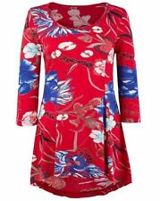 3/4 Sleeve Unbranded Floral Plus Size Tops & Blouses for Women