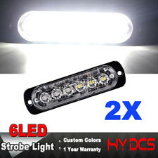 2Pcs 6 LED Car Emergency Warning Beacon Flash Strobe Light Bar Grill Lamp White