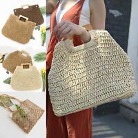 Women Vintage Straw Rattan Large Capacity Travel Bag Bohemian Beach Handbag New