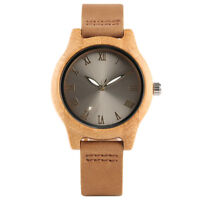 Fashion Nature Wooden Roman Number Leather Band Women Quartz Wrist Watch Bangle
