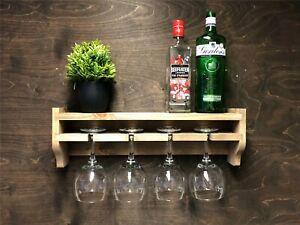 Gin Shelf Wine Rack 4 Glass Holder Wall Mounted Home Bar Rustic Wooden (GS)EM