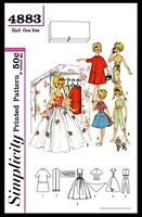 "Simplicity 4883 TAMMY 12"" Vintage Fashion DOLL Fabric Sewing Pattern Barbie 60's"