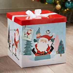 XL Christmas Gift Box with Bow & Tag Santa Sledging