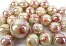 25 Glass Marbles STARFISH iridescent Tan/Red/Orange Game Pack Shooter Swirl