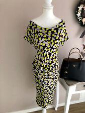 Diane von Furstenberg Cocktail Kleid Dress Seide drapiert grau 34 36 XS S TOP