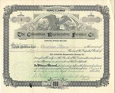 Pennsylvania 1893, The Columbian Regenerative Furnace Co. Stock Certificate #4