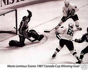 Lemieux 1987 Canada Cup Winning Goal, 8x10 B&W Photo