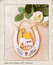 Wedding Horseshoe Personalised Names Wooden Keepsake Gift GOLD & CREAM Vintage