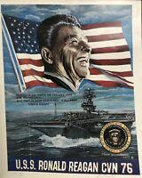 USS Ronald Reagan Cvn 76 Ship President Poster Signed John Gromosiak 2002 Flag