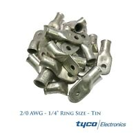 Tyco (25) Heavy Duty Tinned Copper Lug 2/0 AWG Gauge 1/4 Stud Ring Wire Terminal