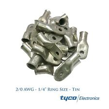 Tyco (25) Heavy Duty Tinned Copper Lug 2/0 AWG Gauge 1/4 Stud Ring Wire Terminal
