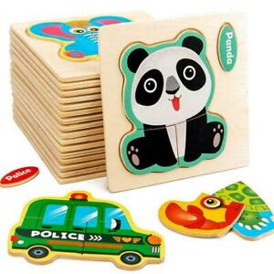 Wooden Jigsaw Puzzle For Toddlers Kids Montessori Early Educational Toys R8I5