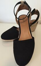 Style & Co Vegan Suede Mailena Wedge Espadrille Ankle Strap Size 7.5 Black