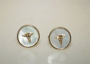 Vintage Anson Gold Tone Mother Of Pearl Caduceus Symbol Of Medicine Cuff Links
