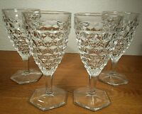"Fostoria American Clear Glass Hex Footed Stemmed 6 & 1/4"" Water Goblets Set of 4"