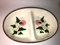 """Vintage Mid Century Modern Stangl Pottery Thistle 10 3/4"""" Divided Bowl See pics!"""