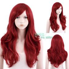 65cm Hitzebeständige Gewellte Lange Dunkel-Rot Mode Haar Perücke