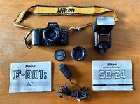 Nikon F-801s AF SLR Camera 35mm Nikkor lenses Autofocus Speedlight Manual Bundle