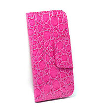 iPhone 4 Card Wallet Flip Crocodile Case - Hot Pink