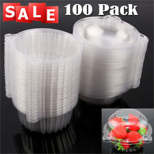 100pcs Clear Plastic Cupcake Boxes Cake Packing Boxes Muffin Pod Dome Box US