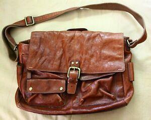 FOSSIL Brown Leather Messenger Men's Shoulder bag Briefcase