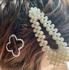 2ps Women's Hair Clips Faux Pearl Snap Hair Clip Barrett W/matching Bobby Pin.