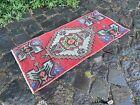 Vintage Turkish small rug, Handmade wool rug, Doormats, Decor rug   1,2 x 2,6 ft