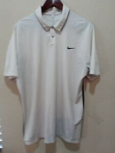 Nike Dri- Fit  Tiger Woods Collection Men's Short Sleeve White Golf Polo Size L