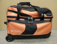 Pyramid Path Deluxe Double Roller Bowling Bag Orange Two (2) Bowling Ball Bag