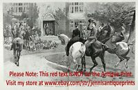 Horse Women Sidesaddle Riders Fox Hunting, Huge Double-Folio 1880s Antique Print