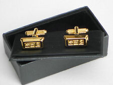 Rhodium Plated Rectangular Cufflinks without Stone for Men