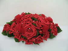 Wedding Flower Top Table Arrangement, Artificial Red Roses, Centrepiece
