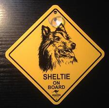 12cm Roadsign Schild mit Saugnapf Sheltie Collie Sheepdog Shetland