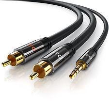 1m HQ 3.5mm Mini Estéreo Jack a 2 x RCA Cable de Fono Doble de Oro Plomo PC Tv aux nuevo