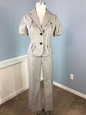 Banana Republic 2 4 Light Gray Wool Silk Pinstripe Pant Suit Short Slv jacket