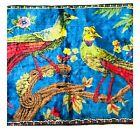 Vintage Bird Tapestry Rug Velvet Wall Hanging Jewel Tone Red Blue