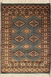 Rugstc 2x3 Bokhara Jaldar Grey Area Rug, Hand-Knotted,Geometric with Silk/Wool