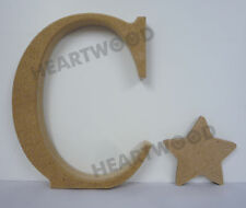 GEORGIA LETTER C WITH STAR IN MDF (150mm x 18mm thick)/C IS FOR CHRISTMAS/CRAFT