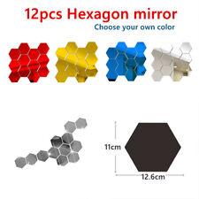 12 Pcs 3D Espejo Hexágono Pared Adhesivo Decoración De Pared Calcomanía De Fondo Corredor