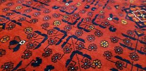 Stunning 1980-1990's  Wool Pile Natural Dye Red Afghan Tribal Area Rug 4x6ft